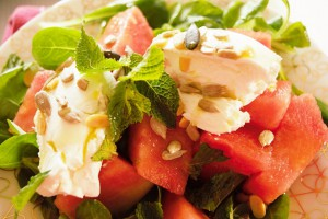 Watermelon and goats cheese salad