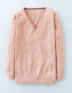 Pale pink v neck sweater French style