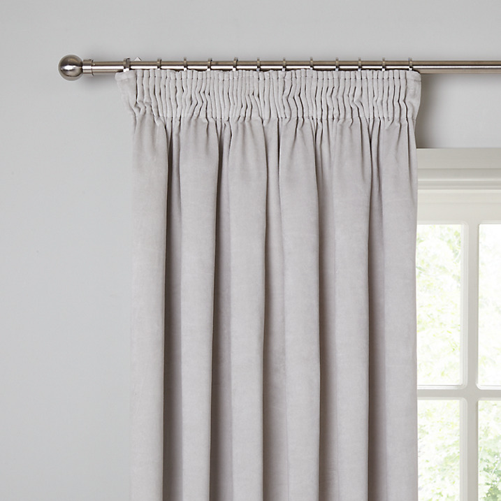 Grey velvet curtains French style