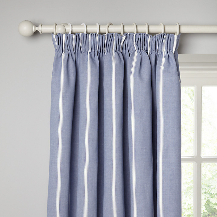 blue and white stripe curtains french style