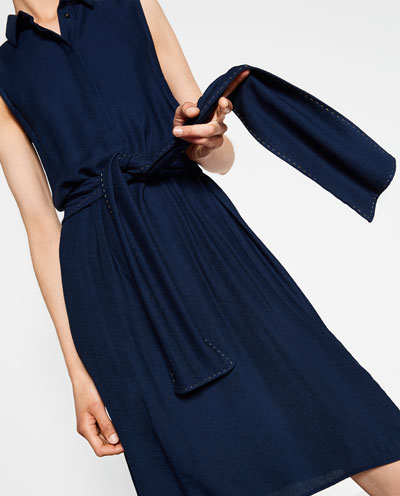 Zara navy shirt dress