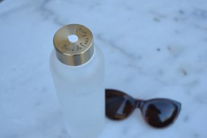 Personalised frosted glass water bottles