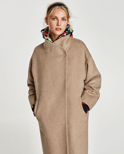 wraparound collar camel coat