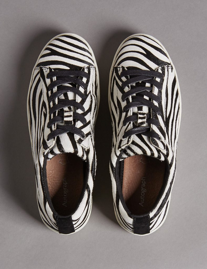 Zebra leather trainers