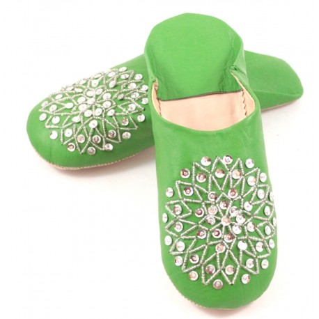 Green Babouche slippers
