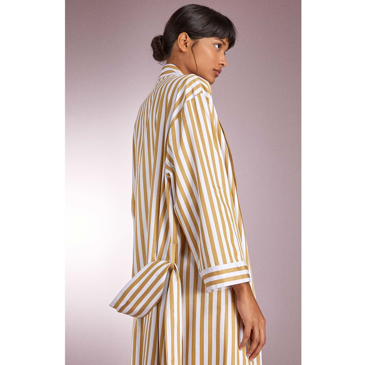 striped spring dressing gown