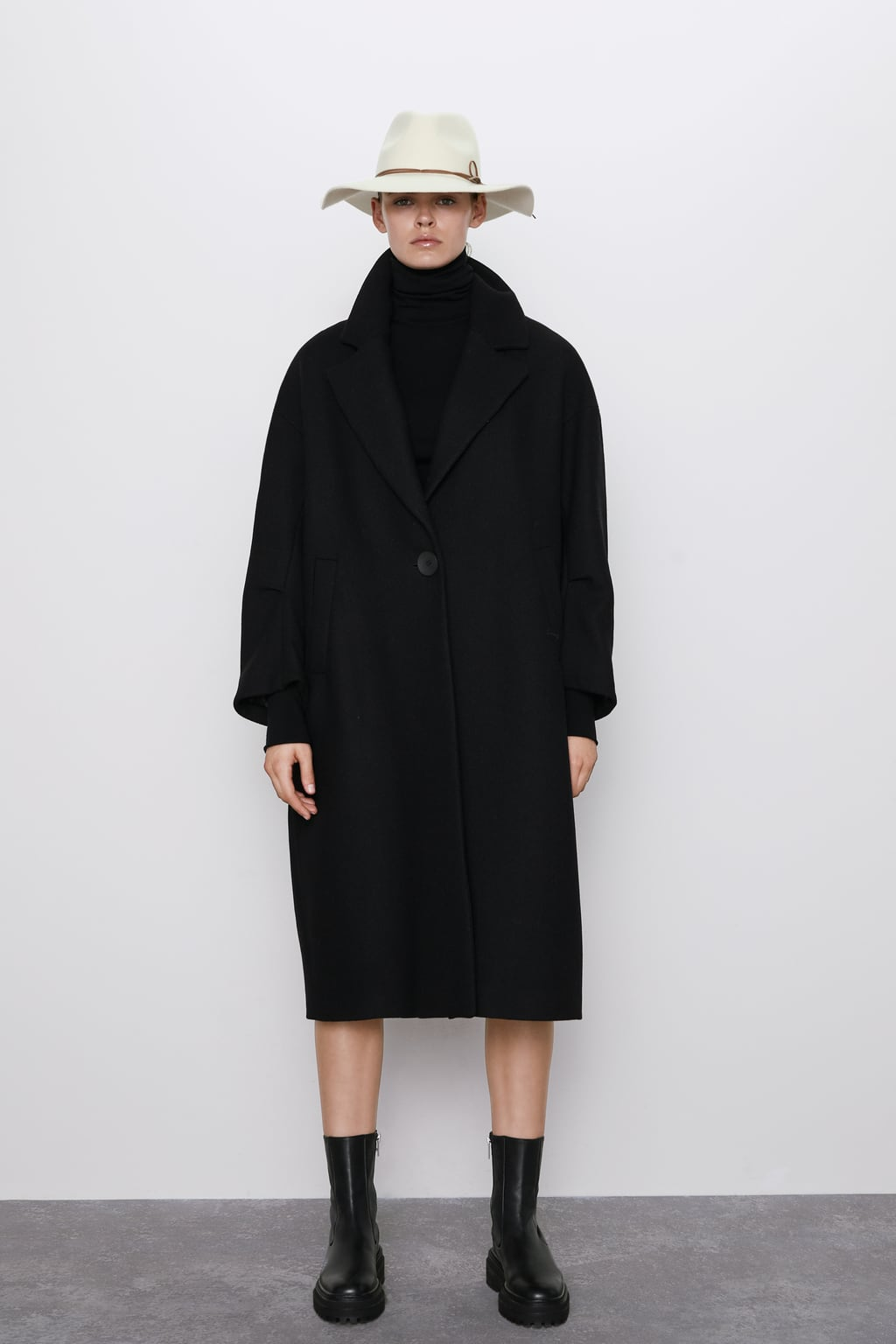 Flattering oversized black coat