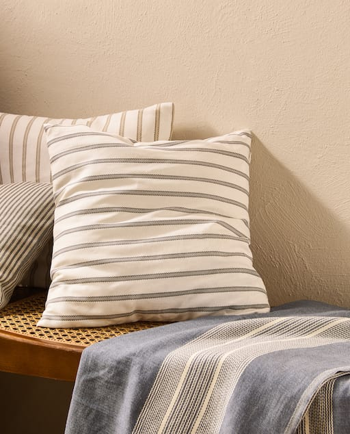 French ticking stripe cushion